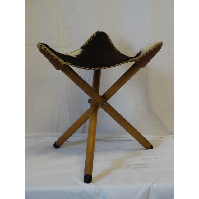 Folding Cow Hide Stool - Image 4 of 4