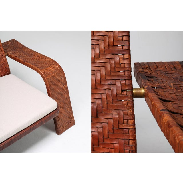 1970s Postmodern Lounge Chair in Woven Leather by Marzio Cecchi For Sale - Image 9 of 10