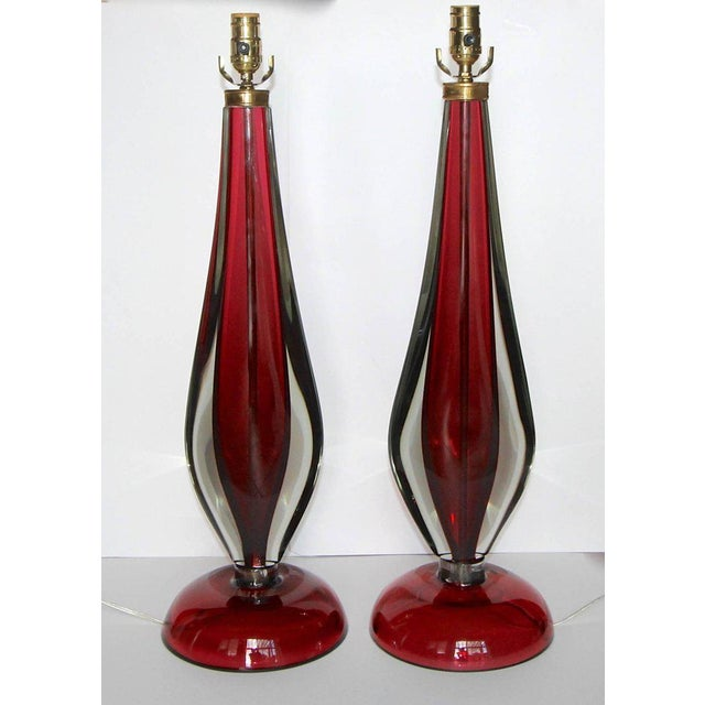 Contemporary Large Flavio Poli Seguso Sommerso Murano Red Glass Table Lamps - a Pair For Sale - Image 3 of 13