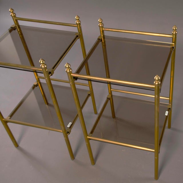 Pair of Mid-Century Brass and Glass Side Tables For Sale - Image 4 of 10
