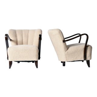 """Pair of Art Deco """"Tulip"""" Open Armchairs For Sale"""