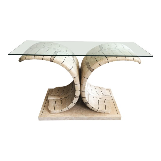 Sculptural Maitland Smith Tessellated Marble Console For Sale