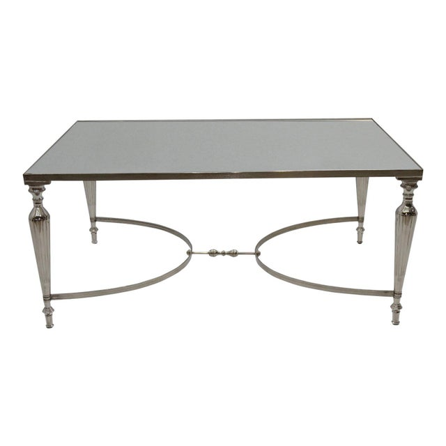 Silver Cakra Contemporary Rectangular Accent Coffee Table, Metal Center Table, Living Room, Mirrored Top- Nickel Plating For Sale - Image 8 of 8