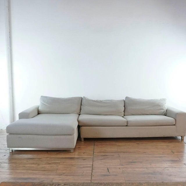 Modern Grey Room and Board Sofa Chaise With Chrome Legs. Brand is Room & Board. Original Price $2,300.00. Dimensions (in):...