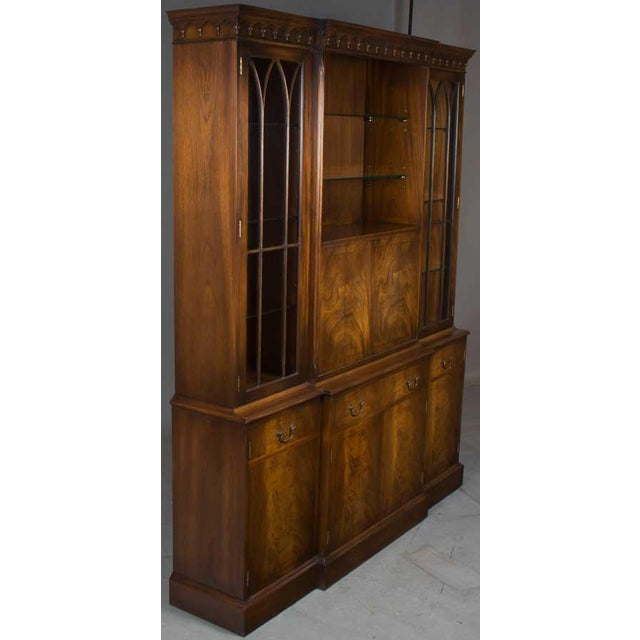 57ac6c2612d1d Bevan Funnell Ltd. Bevan Mahogany Breakfront Bookcase With Liquor Cabinet  Bar For Sale - Image