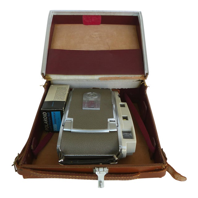 Mid-Century Polaroid Camera in Original Leather Case For Sale
