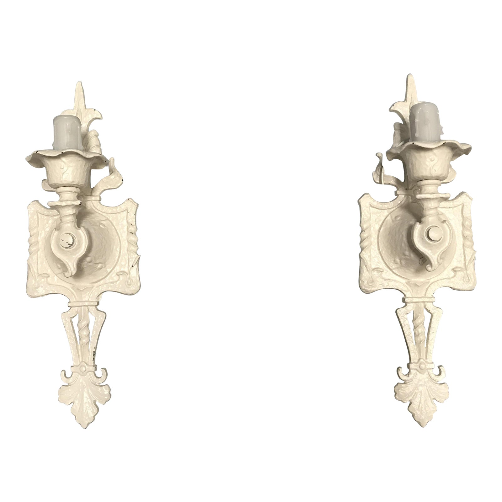Creamy White Art Deco Iron Sconces With Faux Wax Candle