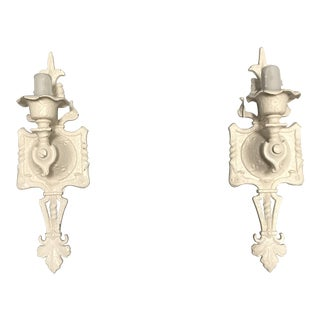 Creamy White Art Deco Iron Sconces with faux Wax Candle Socket - a Pair