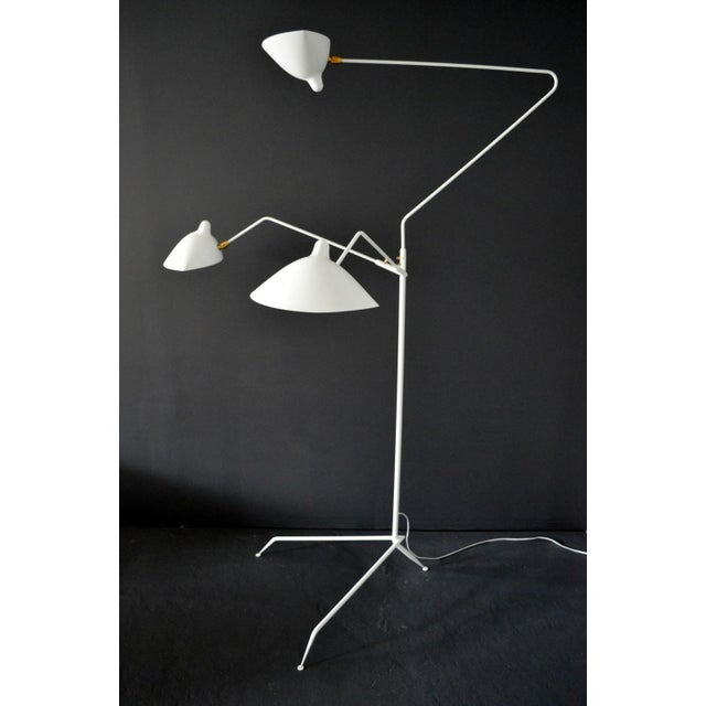 Mid-Century Modern Standing Lamp With Three Arms in White by Serge Mouille For Sale - Image 3 of 6