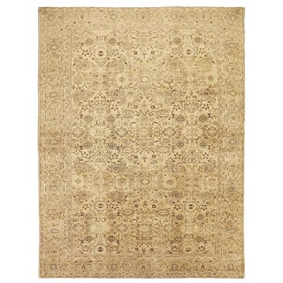 Large Antique Persian Malayer Rug With Beige & Brown Flower Details For Sale