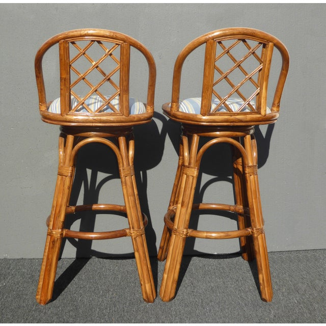 Vintage Tiki Palm Beach Bamboo Rattan Bar Stools - A Pair - Image 6 of 10