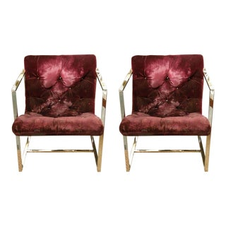 Milo Baughman Square Framed Lounge Chairs - a Pair For Sale