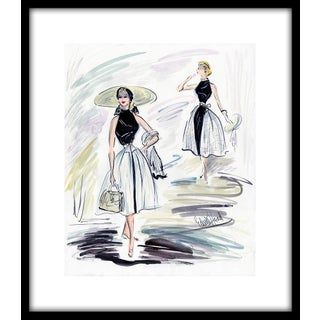 """1950s Reproduction Framed Print of Original Costume Sketch by Edith Head for Grace Kelly """"How to Catch a Thief"""" For Sale"""