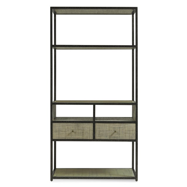 A clean-lined etagere from the Century Furniture Purveyor Collection. Crafted from a metal frame and Gmelina solids with...