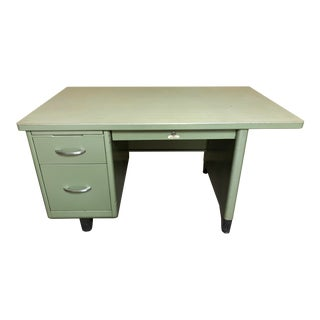 Vintage Steel Age Celadon Desk For Sale