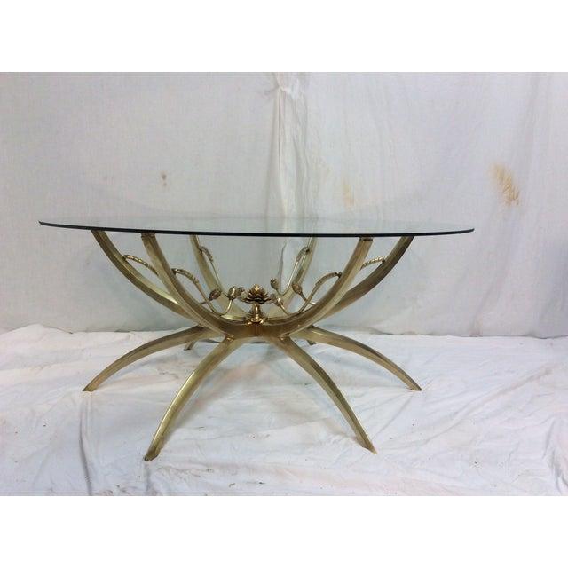 Midcentury Brass Spider Leg Lotus Coffee Table - Image 2 of 7
