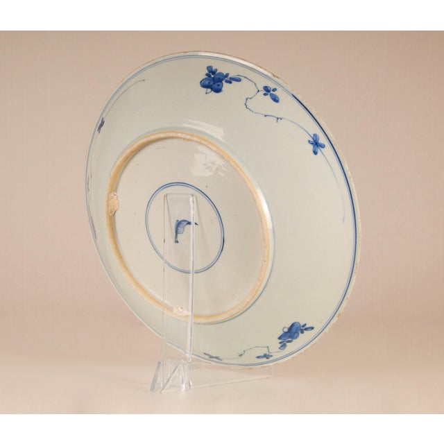 17th Century Antique Chinese Ming Porcelain Blue and White Deep Charger Bowl For Sale - Image 6 of 12
