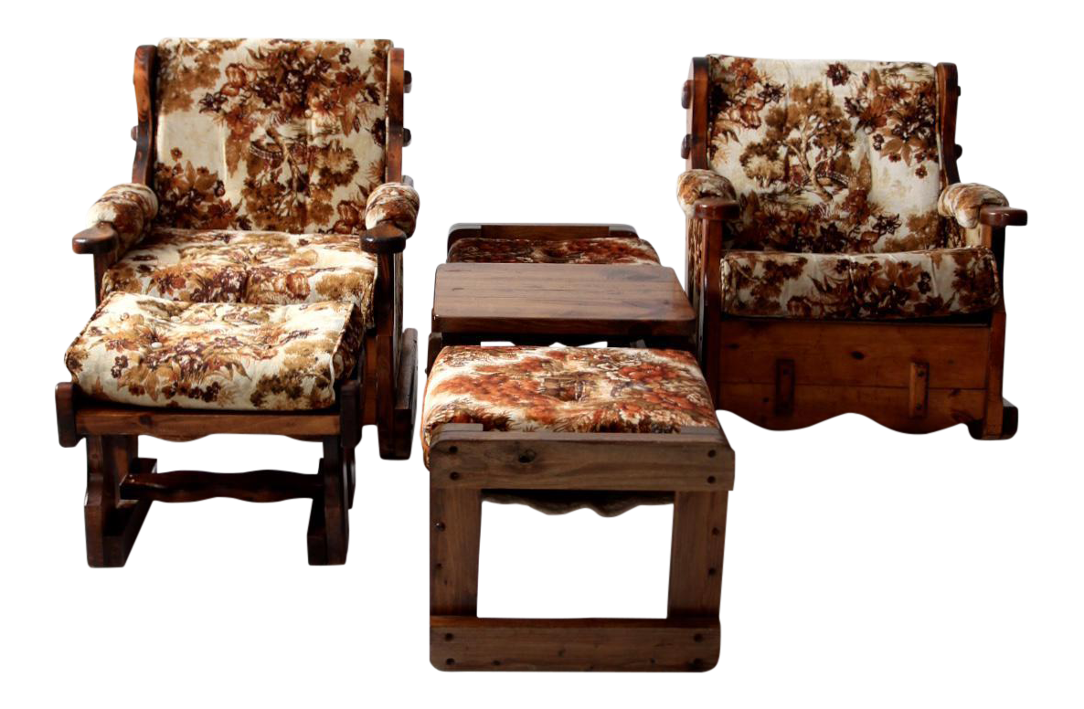 Vintage Floral Lodge Chairs And Ottoman   Set Of 4