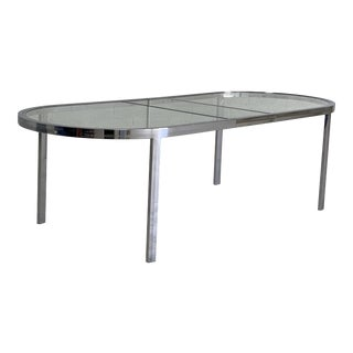 Vintage Milo Baughman Polished Chrome and Glass Oval Dining Table For Sale
