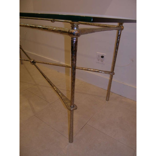 1960s French Nickel Over Cast Bronze Dining Table/Desk For Sale - Image 5 of 7