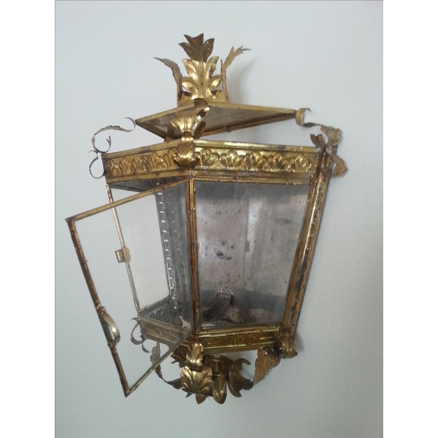 Venetian Style Gilt Tole and Glass Wall Lantern For Sale - Image 4 of 10