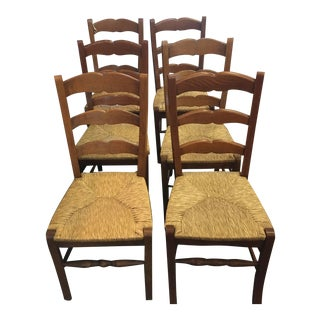 English Farmhouse Side Chairs With Rush Seats - Set of 6 For Sale