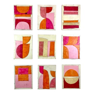 """Tickled"" Encaustic Collage Painting - 9 Piece Installation by Gina Cochran - Pink & Orange For Sale"