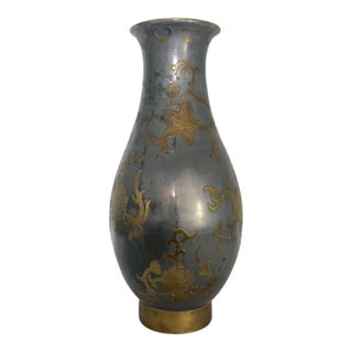 1960s Vintage James Mont Style Asian Flower Brass Overlay on Pewter Vase For Sale
