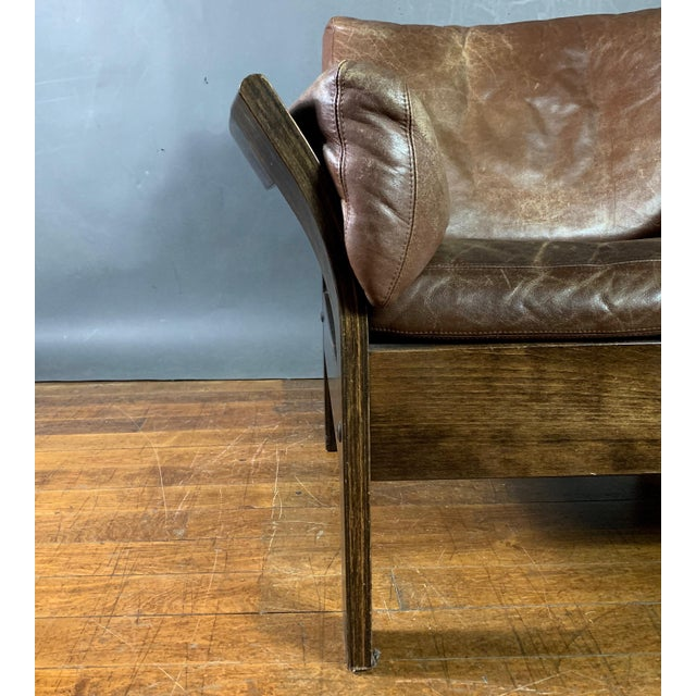 Danish Leather Lounge Chair With French Cane Sides, Late 1970s For Sale In New York - Image 6 of 10