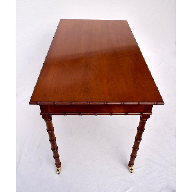 Metal Regency Faux Bamboo Writing Desk For Sale - Image 7 of 11