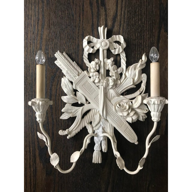 French Provincial 1940s Palladio Italian Lighted Double Sconces With Arrows, Torch and Rose - a Pair For Sale - Image 3 of 9