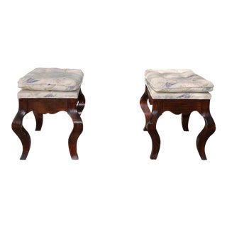 Vintage Brown Stools - a Pair For Sale
