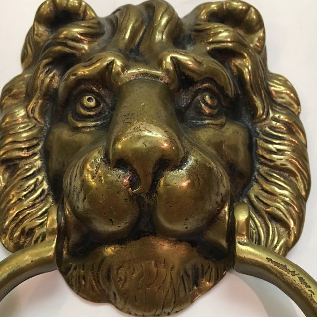Traditional Vintage Brass Lion Head Door Knocker For Sale - Image 3 of 7