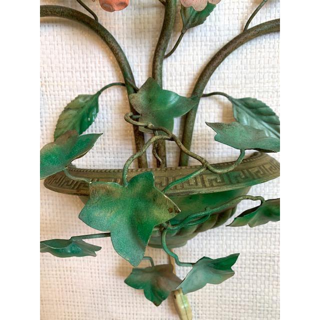 Mediterranean Vintage Urn Floral Tole Wall Sconce For Sale - Image 3 of 8