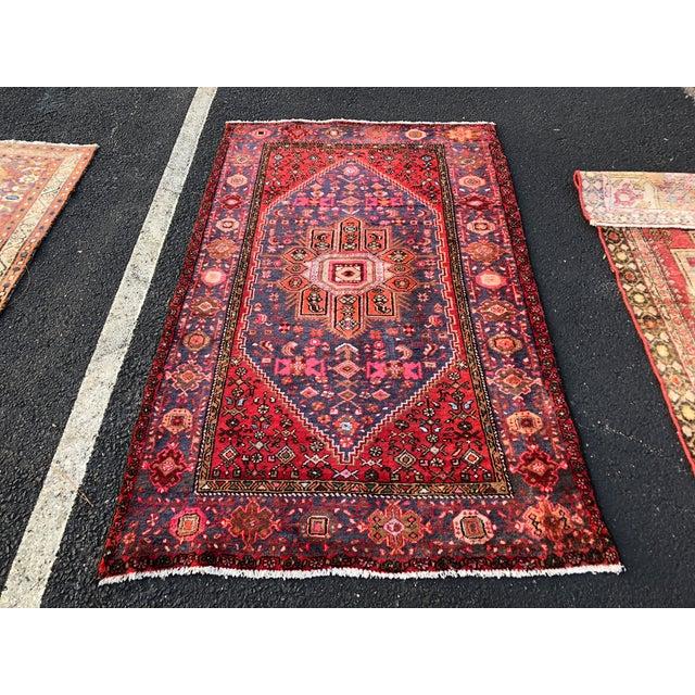 "Vintage Persian Hamadan Rug - 3'11"" x 6'8"" For Sale - Image 11 of 11"