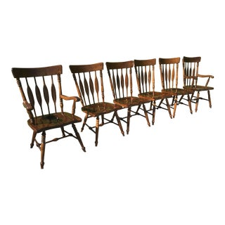 1960 Kling Arrow Back Plank Bottom Dining Chairs - Set of 6 For Sale