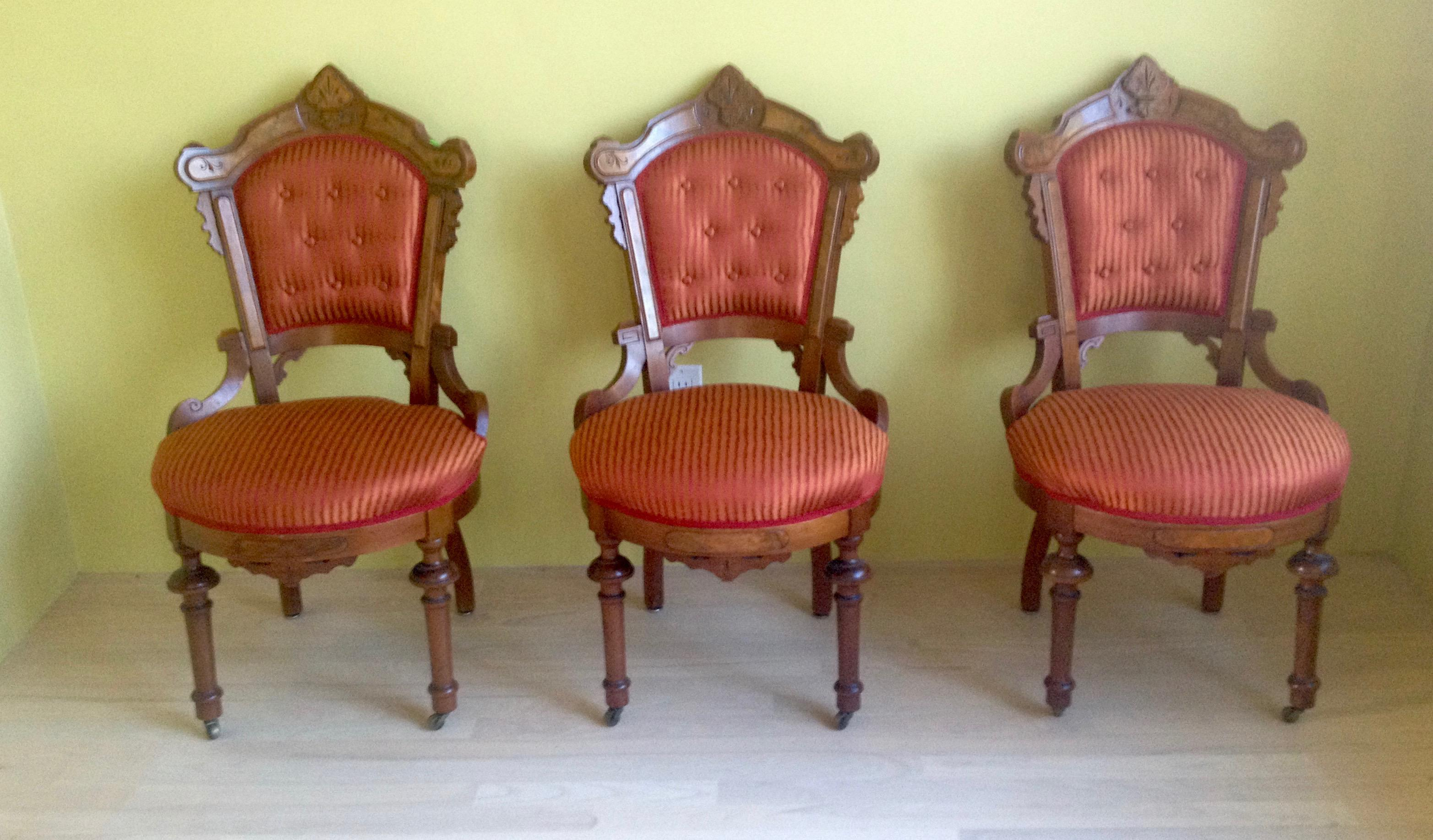 Victorian Red And Orange Upholstered Slipper Chairs (Three) For Sale    Image 10 Of