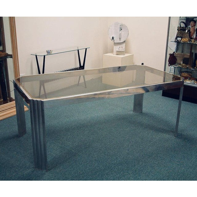 Contemporary 1970 Mid-Century Modern Italian Polished Aluminum and Glass Dining Table For Sale - Image 3 of 7