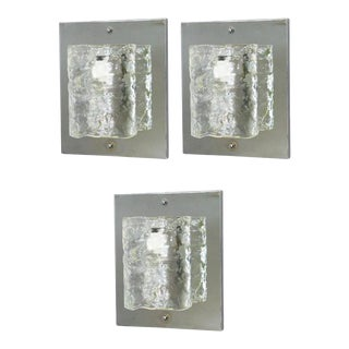 Mazzega Murano Glass on Chrome Cylinder Sconces (3 Available) For Sale