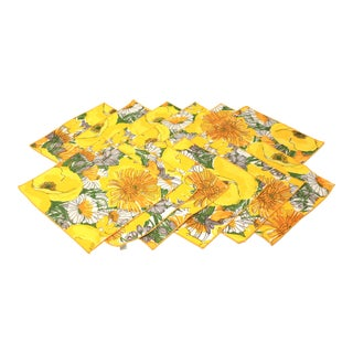 Vintage 1970's MCM Linen Napkins With Yellow and Orange Flowers - Set of 12 Mid Century For Sale