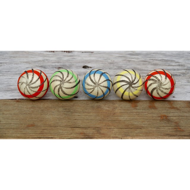 Glass Striped West German Christmas Ornaments - Set of 5 For Sale - Image 7 of 11