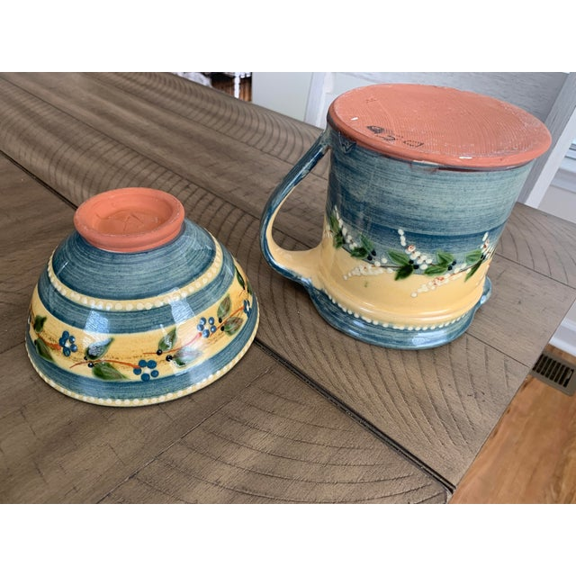 Ceramic Vintage French Country Hand-Painted & Glazed Terra Cotta Pottery Pitcher Jug & Bowl Set- 2 Pieces For Sale - Image 7 of 13