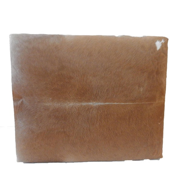 Boho Chic LG Cow Hide & Faux Leather Ottoman For Sale - Image 3 of 10