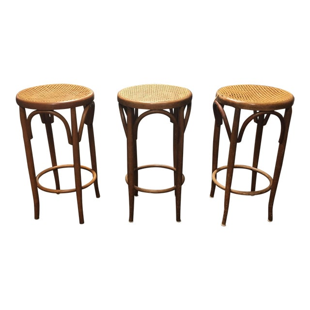 Mid-Century Thonet Style Bentwood Stools - Set of 3 For Sale