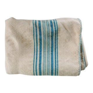 Hand Woven White & Turquoise Wool Blanket For Sale