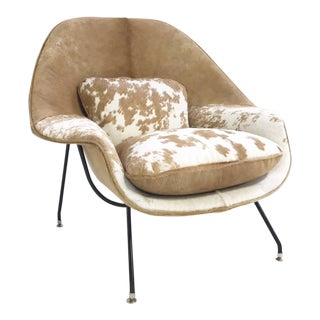 Forsyth Vintage Eero Saarinen Womb Chair Restored in Brazilian Cowhide For Sale