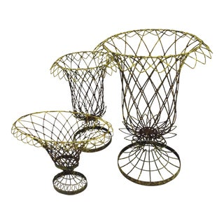 French Country Wire Baskets - Set of 3 For Sale