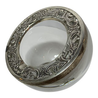 1940s St Louis Crystal and Sterling Ashtray For Sale
