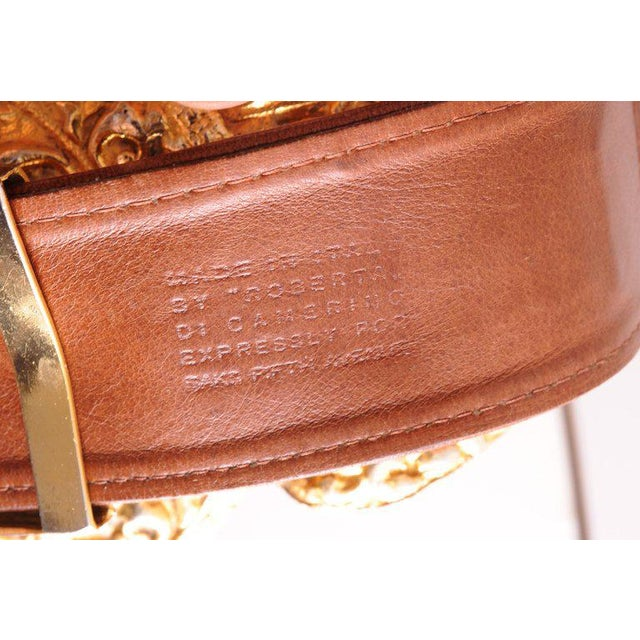 1960s Roberta DI Camerino for Saks Brown Leather Belt Golden Buckle and Slides For Sale - Image 5 of 6