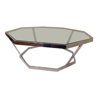 Retro Chrome Octaganol Glass Top Table For Sale